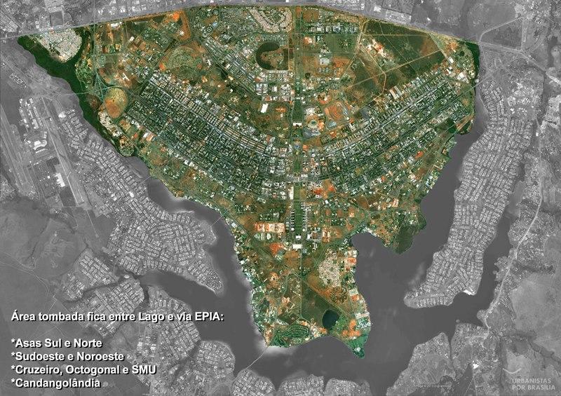 A área tombada de Brasília
